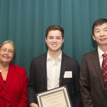 Department of FMIS- Finance Scholarship - Dean Amy B. Hietapelto, Cole Neumeister, and Dr. Dahui Li, FMIS Department Head