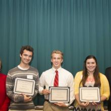 David and Louise Gartzke Scholarship - Dean Amy B. Hietapelto, Matthew Arthur, Nathan Herman, Julia Klein, and David Gartzke