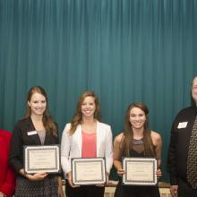 LSBE Honors Scholarship - Dean Amy B. Hietapelto, Krista Anderson, Allison Hoffman, Katherine Aune, and Tracey Bolen