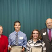 Charles E. House Scholarship - Dean Amy B. Hietapelto, Michael DuVall, Katherine Kippes, and Charles House