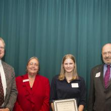 Hansen House Accounting Scholarship - Greg Hansen, Dean Amy B. Hietapelto, Jennifer Horst, and Charles House