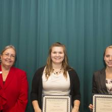 Janet Jasper Scholarship - Dean Amy B. Hietapelto, Molly Justison, and Carly Newman