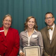 Lawrence and Jennifer Johnson Development Scholarship - Dean Amy B. Hietapelto, Erin Mensinger, and Lawrence Johnson