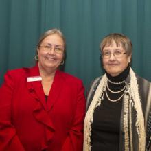 Lillian F. and William C. Johnson Memorial Scholarship - Abigail Gordon (not pictured), Dean Amy B. Hietapelto, and Sharon Torrison