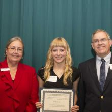 Management Studies Department Scholarship for Academic Excellence - Dean Amy B. Hietapelto, Emily Lieske, and Geoff Bell