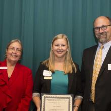 maurice's ReMAP Scholarship - Dean Amy B. Hietapelto, Paige Duerksen, and Eric Bibelnieks