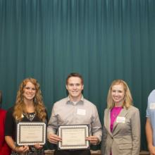 McGladery Accounting Scholarship - Dean Amy B. Hietapelto, Calla Johnson, Jacob Nelson, Michelle Hemming and Sean Finn