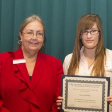 David F. McIntire Scholarship - Dean Amy B. Hietapelto and Nicole Weikert