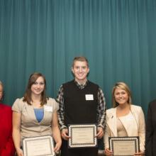 Minnesota Society of C.P.A.s Accounting Scholarship - Dean Amy B. Hietapelto, Danielle Pearce, Matthew Schriener, Marlana Steen, and Hanni Hessen
