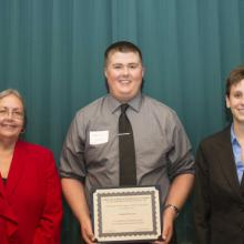 Duluth Chapter - MNCPA Scholarship - Dean Amy B. Hietapelto, Samuel Hosszu, and Hanni Hessen
