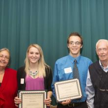 Donald and Nancy Moline Scholarship - Dean Amy B. Hietapelto, Jenna Anderson, Blake Johnston, and Don Moline
