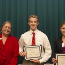 Shusterich Scholarship - Dean Amy B. Hietapelto, Nathan Herman, and Dana Radermacher