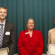 Techne R & D Systems Merit Scholarship in Business - Kurt Berndt, Dean Amy B. Hietapelto, and Jacyln Priolo