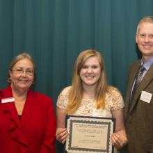 David T. and Andrea K. Walkosz Accounting Scholarship - Dean Amy B. Hietapelto, Erika Lisburg, and David Walkosz