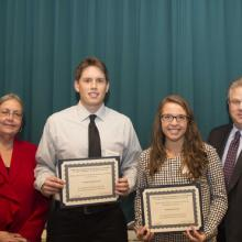 WIPIFLi Foundation Accounting Scholarship - Dean Amy B. Hietapelto, Joseph Ellinghuysen, Mackenzie Korby, and Bob Cedergren