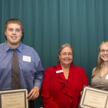 Carolyn and Jerry Zanko Scholarship - David Clausen, Dean Amy B. Hietapelto, and Lydia Brewster