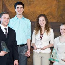 Thomas Gand, Kyle Voelker, Taylor Dame, and Amanda Malmin, Student Excellence Award Recipients