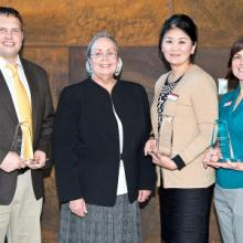 Neil Wilmot, Ariuna Taivan, and Kim Dauner, Faculty Excellence Award Recipients