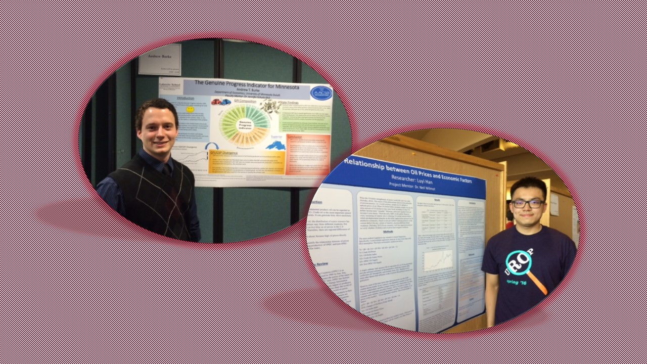 Two students next to their UROP Presentations